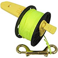 Scuba Choice - Carrete de buceo compacto con mango de plástico amarillo, 167 pies, línea amarilla