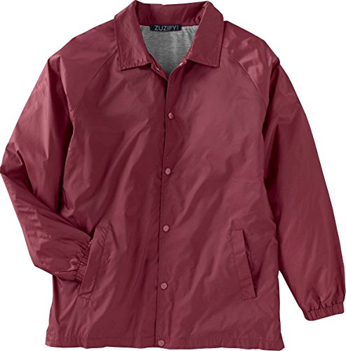 ZUZIFY Nylon Snap Front Coaches Windbreaker Jacket. JR0831 XX-Large Maroon