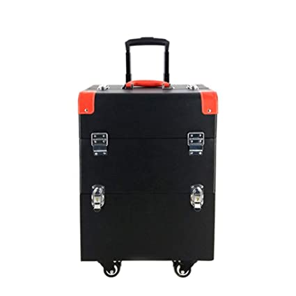 Professional Rolling Luggage Makeup Travel Case with 4 360° Rotation Wheels Cosmetic Train Organizer Box