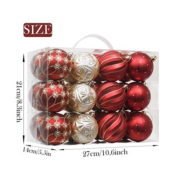 Valery Madelyn Palle di Natale 24 Pezzi 7cm Palline di Natale, Ornamenti di Palla di Natale Infrangibili di Lusso Rosso e Oro per la Decorazione Dell'Albero di Natale 2 spesavip