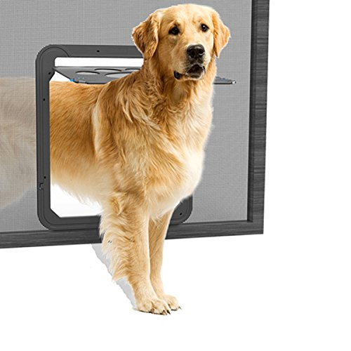 Lesypet pet dog door for screens magnetic pet screen door for Automatic locking dog door