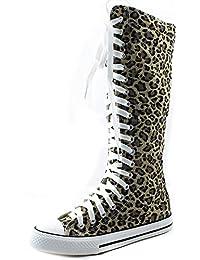 Women's Tall Canvas Up Punk Sneaker Flat Knee High Boots