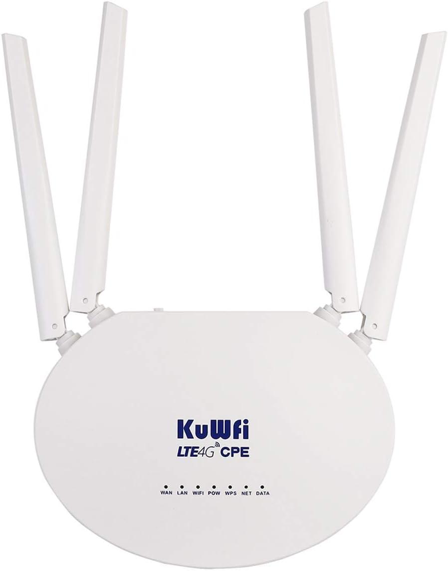 KuWFi 4G LTE SIM Router Wireless WiFi Internet 300Mbps Unlocked with 4pcs Non-Detachable Antennas Mobile WiFi Hotspot for B2/B4/B5/B12/B13/B17/B18/B25/B26[Not for Verizon]