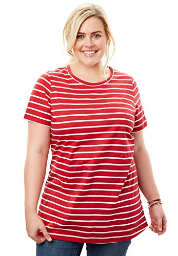 (Woman Within Women's Plus Size Perfect Crewneck Printed Tee - Classic Red White Stripe, M)