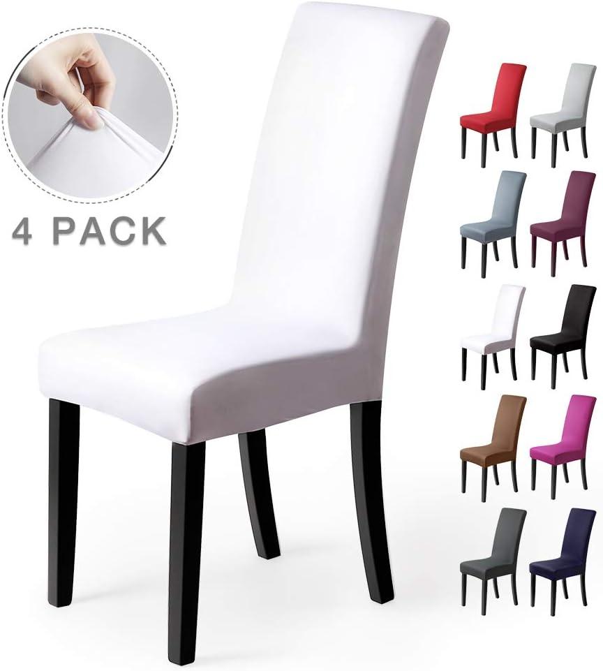 Fundas para sillas Pack de 4 Fundas sillas Comedor Fundas elásticas, Cubiertas para sillas,bielástico Extraíble Funda, Muy fácil de Limpiar, Duradera (Paquete de 4, Blanco)