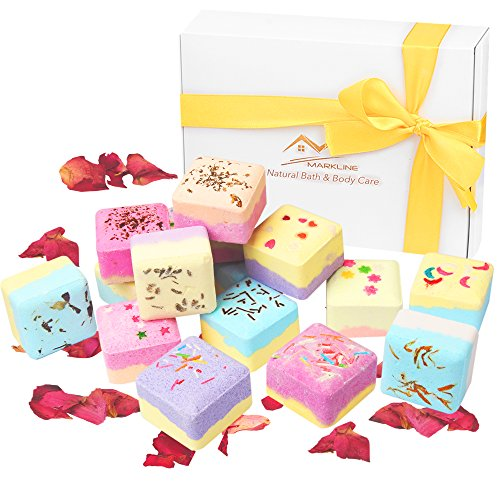 Bath Bombs Gifts Set Organic - Markline Cubes Size Vegan Natural Essential Oils Spa Fizzy Kit For Girls Women Mother's Day Valentine Christmas Birthday Gifts, Moisturize Dry Skin, Gift Packaged ()
