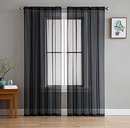 HLC.ME Black Sheer Voile Window Treatment Rod Pocket Curtain Panels for Bedroom (54