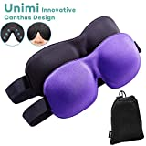 Unimi Sleep Mask for Woman and Man, Upgraded Contoured 3D Eye Mask Eye Cover, Comfortable Sleeping Mask No Pressure On Your Eyeballs, Create Total Darkness (Black+Purple)