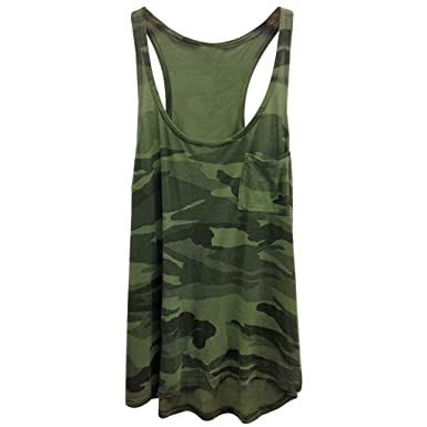 3af5fd5f7c52b Women's Summer Sleeveless Camouflage Print Tank Tops Pocket Top Shirt Round  Neck Casual Blouse at Amazon Women's Clothing store: