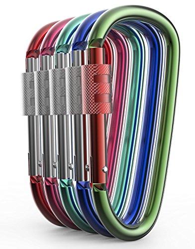 [해외]알루미늄 Carabiner D 모양 버클 팩, 열쇠 고리 클립, 봄 스냅 열쇠 고리 클립 걸이 스크류 게이트 버클 - 모듬 색상 Carabiners의 팩/Aluminum Carabiner D Shape Buckle Pack, Keychain Clip, Spring Snap Key Chain Clip Hook Screw Gate Buckle ...