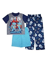 AME Minecraft Little/Big Boys' 3-Piece Pajama Set Gray