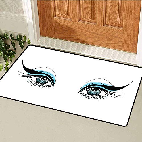 Gloria Johnson Eye Commercial Grade Entrance mat Expressive Look of a Woman Without Eyebrows Artistic Blue and Black Make Up for entrances garages patios W23.6 x L35.4 Inch Pale Blue Black White