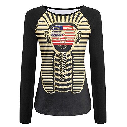 Women's American Flag On Pharaoh Face Raglan Baseball T-Shirts 3/4 Sleeve Baseball Tees - Witcher 3 Sunglasses