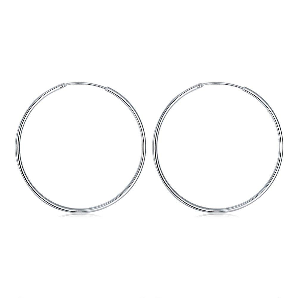 Large Round Earrings for Women Silver Plated Small Endless Earring Oversized Hoop Earrings1.96 inch V-ZONE B01K6JOT7Y_US