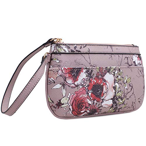 Isabelle Small Floral Zip Wristlet (Taupe)