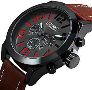 Casual wristwatch process for men from Curren Analog leather bracelet