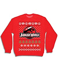 JURASSIC WORLD T Rex Logo Adult Red Ugly Christmas Sweatshirt