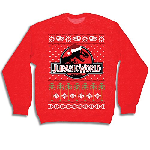 Jurassic World T Rex Logo Red Ugly Christmas Sweater (Adult Large)