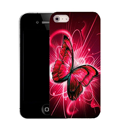 Mobile Case Mate IPhone 5 clip on Silicone Coque couverture case cover Pare-chocs + STYLET - RED TWIRL BUTTERFLY pattern (SILICON)