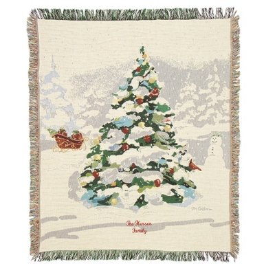 Things Remembered Personalized White Christmas Tapestry Throw with Embroidery Included ()