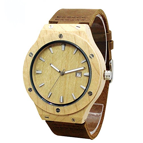 Tjw Mens Natural Maple Wooden Watches Japanese Analog Quartz Movement Watch Date Display Handmade Vintage Casual Wrist Watch Cowhide Leather Strap Watch Brown 8022 1M  Maple