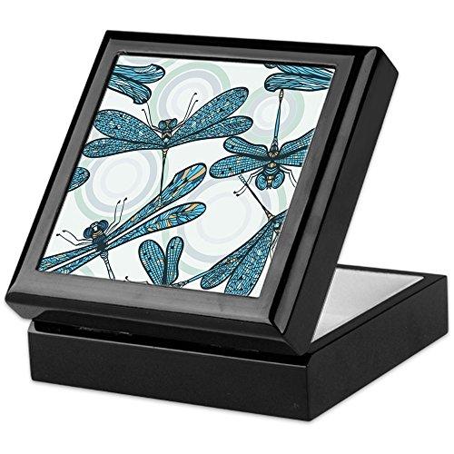CafePress - Blue Dragonflies - Keepsake Box, Finished Hardwood Jewelry Box, Velvet Lined Memento Box