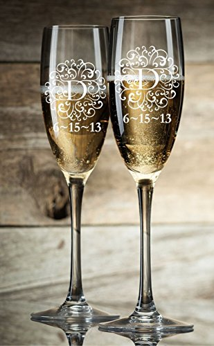 Personalized Champagne Glasses Champagne Flutes Monogram Initial Toasting Glasses Set of 2 ()