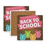 Welcome Hello Back to School Season Coasters, Protect Your Furniture from Stains,Coffee, Drink Coasters Funny Housewarming Gift,Square Cup Mat Pad for Home, Kitchen or Bar 1 Piece