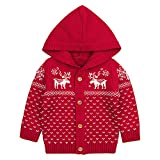 Toddler Baby Boys Girls 0-24 Months Christmas Deer Hooded Knitted Tops Warm Coat Clothes