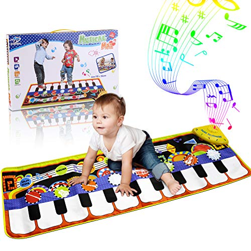 (RenFox Kids Musical Mats, Music Piano Keyboard Dance Floor Mat Carpet Animal Blanket Touch Playmat Early Education Toys for Baby Toddler Infants Girls Boys(43.3x14.2in))