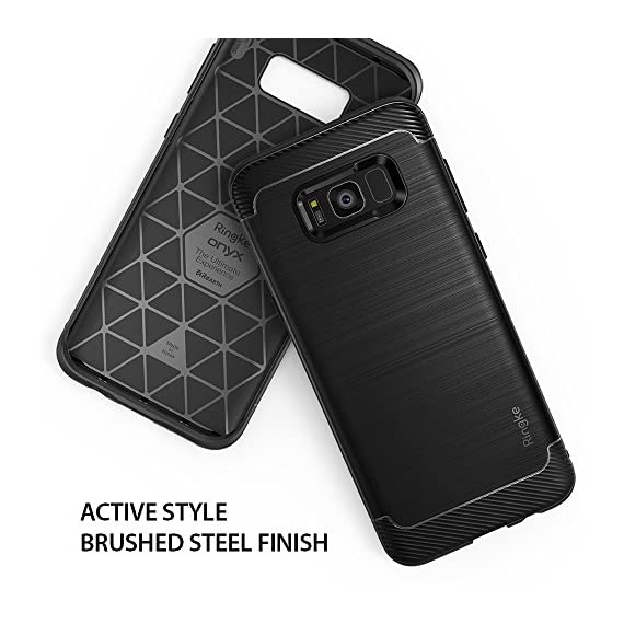 Ringke Onyx Compatible with Galaxy S8 Plus Case PartialUpdated Version Brushed Metal Design Flexible & Slim Dynamic Stroked Pattern Trim Fingerprint Resistant Cover for Galaxy S 8 Plus - Black 2 Heavy duty defense and brushed metal texture layout with a mechanical design complete with Military Grade MIL-STD 810G - 516.6 drop protection. Supports Qi Wireless Charging without the hassle of having to remove the case for Galaxy S8 Plus. Precision-cut TPU profile improves the slim and streamlined appearance with a tough outer flexible protective layer closely contouring each edge and curve of your device. The precise slim fit stays perfect and true to preserve all the premium profile. Highly durable specialized thermoplastic urethane material case is perfectly compatible and secures your device in a comfortable flexible fit for optimized protection against scratches or scrapes. Ultra sturdy yet lightweight, there's no chance in weighing down or bulking up your slim device.