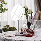 Dimmable LED Lighted Makeup Mirror with Organizer Base, Flowerplus Portable Rechargeable Touch Screen Dimming LED Light Desk Lamp Dressing Table Countertop Vanity Cosmetic Round Mirror with Lights