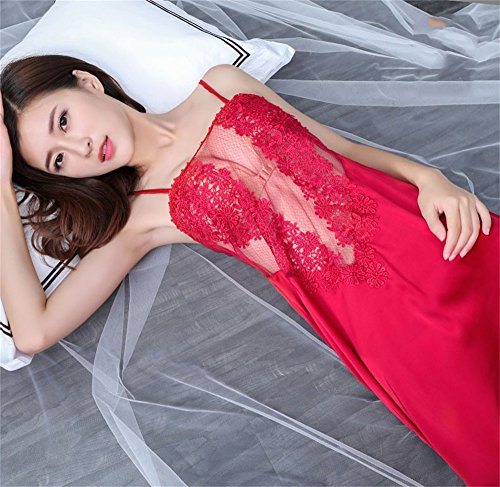 di pigiami notte seta ghiaccio 40 Pizzo da traspirante Spettacolo Summer Lady 70kg Sexy SMC Sexy adulto Gonna Tentazione Hot Confortevole Abiti Red per Pigiama di di Set 5SxBqUR1