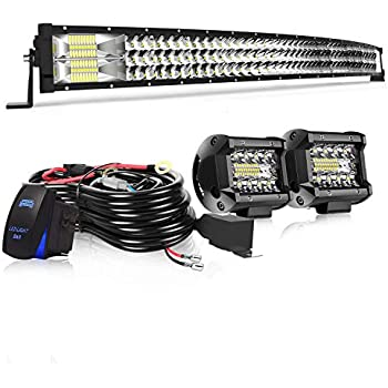 TURBO SII 42 Curved LED Light Bar Triple Row 576W Flood Spot Combo Beam Led Bar W// 2Pcs 4in 60W Off Road Driving Fog Lights with Wiring Harness-3 Leads for Jeep Trucks Polaris ATV Boats Lighting