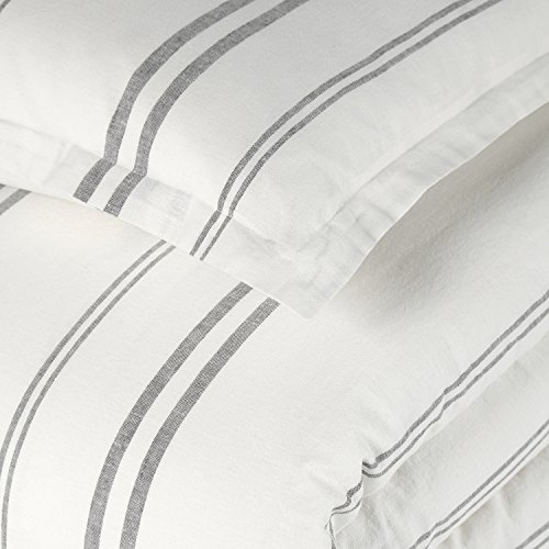 Rivet Classic Maxwell Garment-Washed Stripe Duvet Cover Set, King, White with Gray Stripe by Rivet (Image #5)