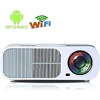 iRULU 20 Pro Android 4.4 Multimedia Video Projector Max Portable Home Theater LED HD 1080P Cinema Max 200 Wi-Fi Wireless Video Projector (USB HDMI VGA TV AV) - White