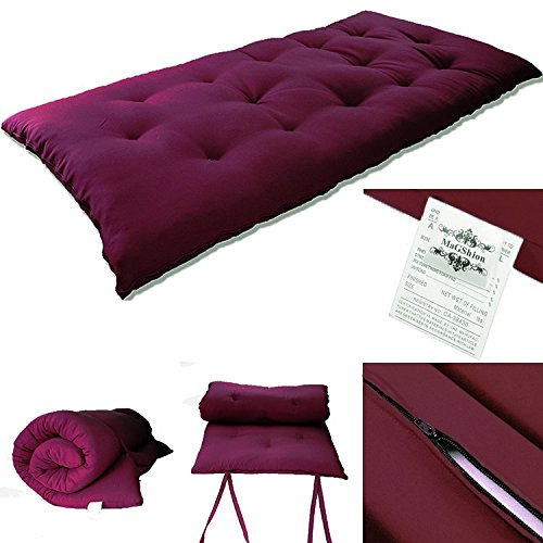 60''Wx80''Lx3''H Queen Size Japanese Mattress- Tatami Floor Mat, Thai Massage Bed, Floor Bed (Burgundy) by Magshion Furniture