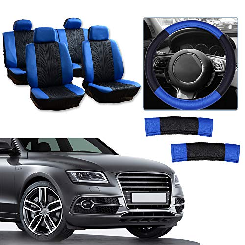 Cover w/Headrest/Steering Wheel Cover/Shoulder Pads - 100% Breathable Car Seat Cover Washable Auto Covers Replacement fit for Most Cars(Black/Blue) ()