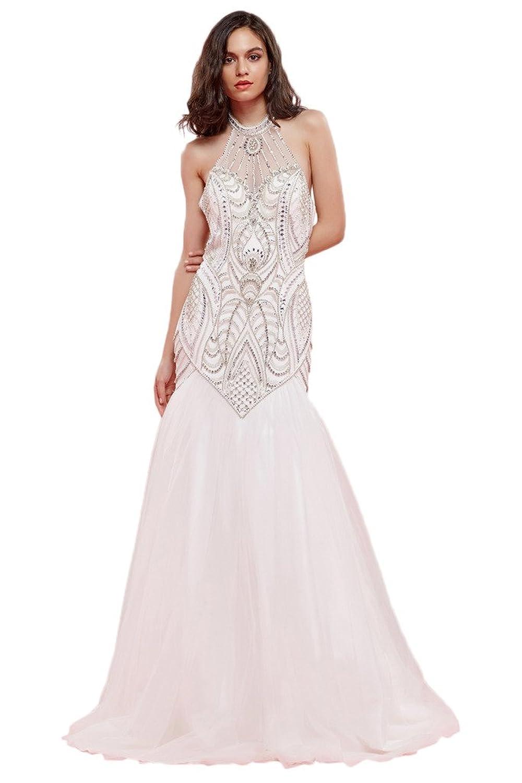 Victory Bridal Hochwertig Hell rosa Steine Pailletten Abendkleider Promkleider Abschlussballkleider Lang -34 Hell rosa