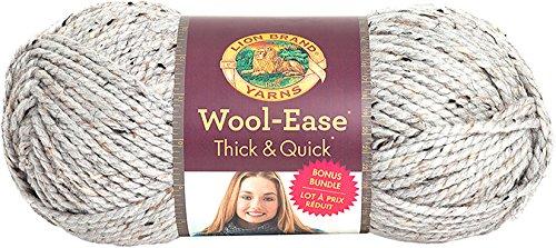 Lion Brand Yarn 641-154 Wool-Ease Thick & Quick Bonus Bundle Yarn, Grey Marble