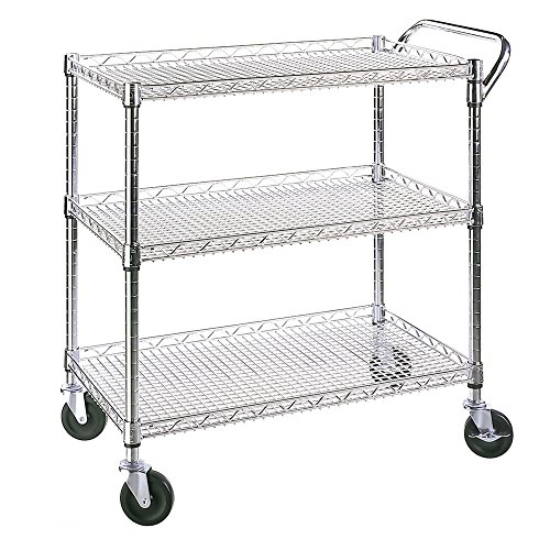 Seville Classics UltraDurable Commercial-Grade 3-Tier NSF Utility Cart (Shelves Metal Wheels)