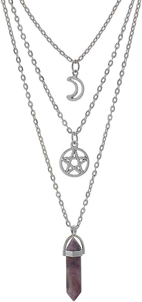 MJartoria Moon Pentagram Necklace Pentacle Chakra Charm Pendant Multi Layer Alloy Chain Choker Necklace Set Gothic Jewelry