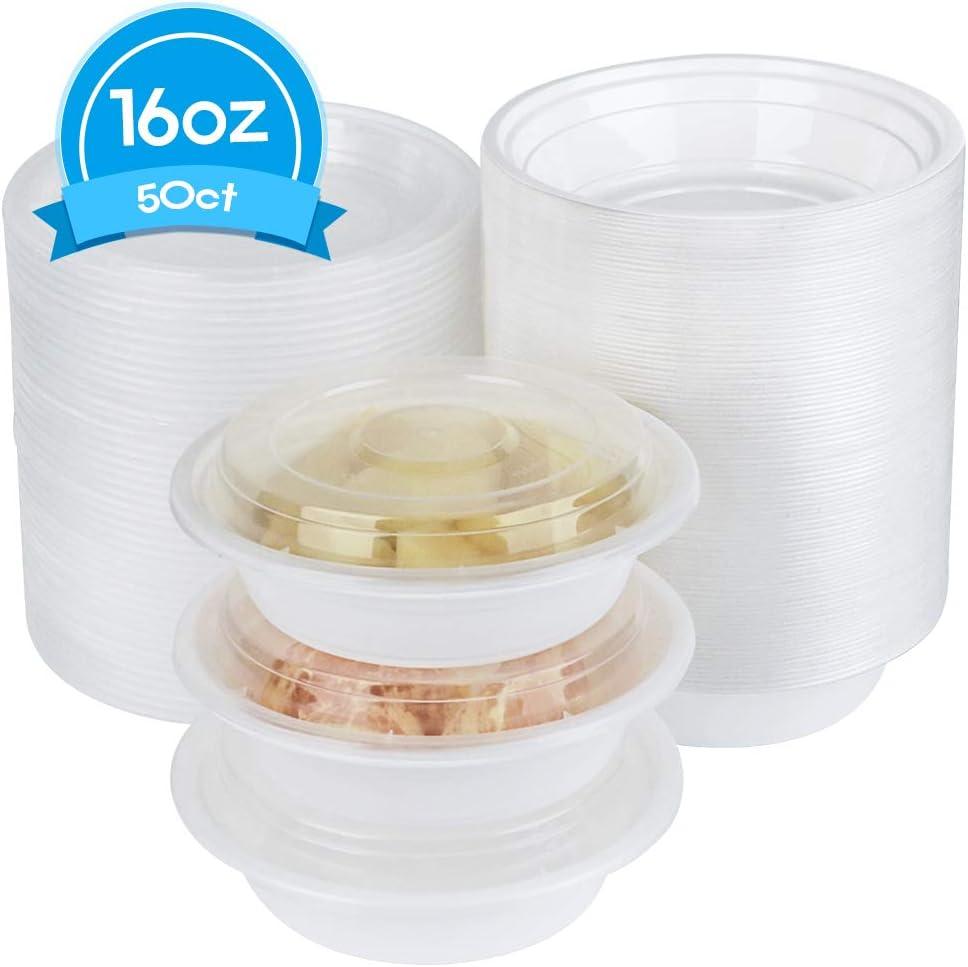 Disposable Plastic Bowl with Lids, Salad Bowl with Lids - 50 Count. (16 oz)