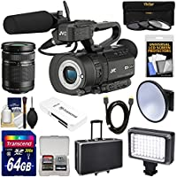 JVC GY-LS300CHU Ultra 4K HD 4KCAM Super 35 Pro Camcorder & Mic Handle Audio Unit + 40-150mm Zoom Lens + 64GB Card + Hard Case + LED Video Light + Kit