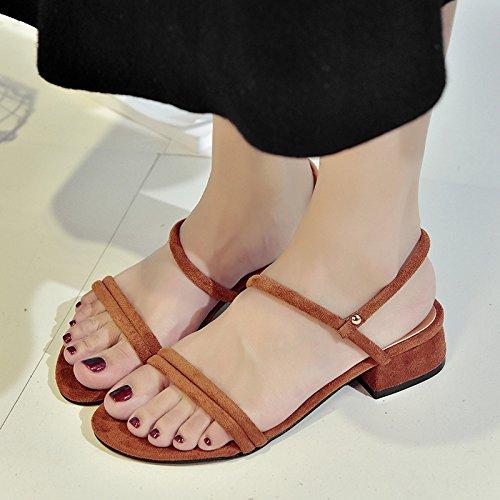Brown sandalias verano RUGAI de Zapatos Las cinturón grueso Ferret moda de Zapatos mujeres UE Yq44xwOI