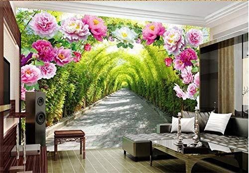 3D Room Wallpaper Custom Mural Photo 3D Flower Door Promenade Painting Picture 3D Wall Non-Woven murals Wallpaper for Walls ()