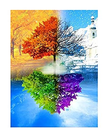 TSING DIY Crystals Paint Kit 5D Diamond Painting By Number Kits,Four Season Trees-16''W19''L