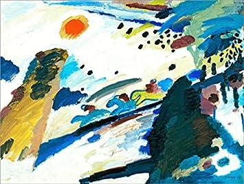 Posterlounge Lienzo 90 x 70 cm: Romantic Landscape de Wassily Kandinsky - Cuadro Terminado, Cuadro sobre Bastidor, lámina terminada sobre Lienzo auténtico, impresión en Lienzo