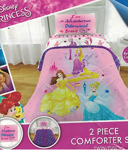 Disney Princess 7 Piece Full Bedding Comforter and Sheet Set Collection with Night Light, Pink, Create Your Own Story