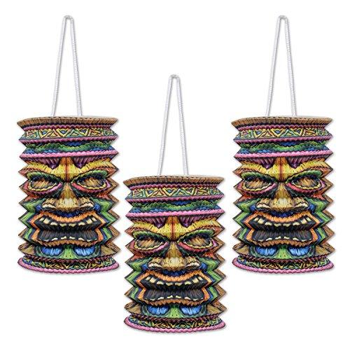 Luau Ornaments - Beistle Tiki Paper Lanterns, 9-Inch, Multicolor